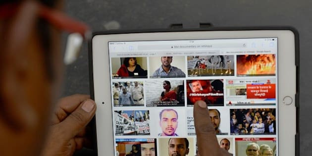 An internet search yields thumbnail results of news related to the controversial BBC documentary on the victim of a December 2012 gang-rape, in Bangalore on March 6, 2015.  India said it had asked YouTube to block access to a documentary about a savage gang-rape in Delhi, after barring broadcasters from airing the film.  AFP PHOTO / Manjunath KIRAN        (Photo credit should read MANJUNATH KIRAN/AFP/Getty Images)