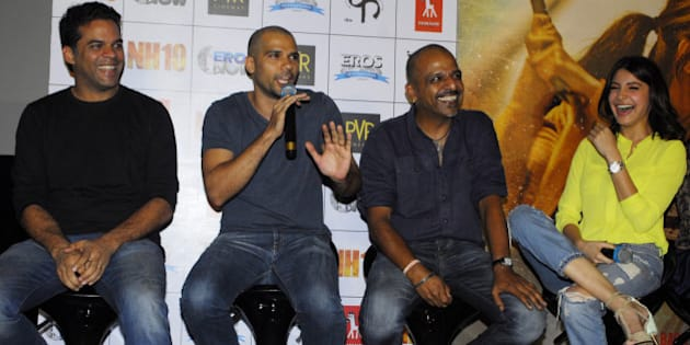 MUMBAI, INDIA - FEBRUARY 5: (L-R) Bollywood filmmaker Vikramaditya Motwane, actor Neil Bhoopalam, filmmaker Navdeep Singh and actor Anushka Sharma during the first trailer launch of upcoming film NH10, at PVR ECX, Andheri on February 5, 2015 in Mumbai, India. Anushka is co-producing the film with Phatom Films. The film is set for release on 6 March. (Photo by Prodip Guha/Hindustan Times via Getty Images)