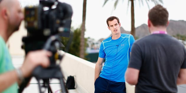 INDIAN WELLS, CA - MARCH 11:  Andy Murray of Great Britain talks to the media during day three of the BNP Paribas Open tennis at the Indian Wells Tennis Garden on March 11, 2015 in Indian Wells, California.  (Photo by Julian Finney/Getty Images)