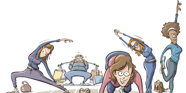 USA - 2008:  Tim Bedison color illustration of women stretching out  and lifting shopping-bag weights as they prepare to sprint to holiday shopping. (Fort Worth Star-Telegram/MCT via Getty Images)