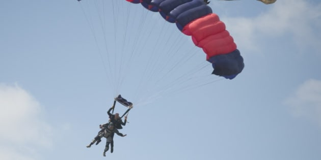 PRETORIA, SOUTH AFRICA - APRIL 10 (SOUTH AFRICA, UAE, BRAZIL AND TURKEY OUT): Cornelis 'Kees' van Dam celebrates his 100th birthday with a parachute jump with instructor Robert Verner at the Pretoria Parachuting Club on 10 April 2011in Pretoria, South Africa. (Photo by Foto24/Gallo Images/Getty Images)