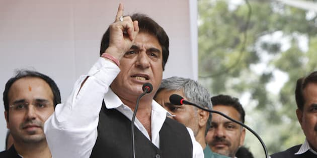 NEW DELHI, INDIA - FEBRUARY 25: Congress leader Raj Babbar addressing the gathering during a protest against a proposed land acquisition ordinance at Jantar Mantar on February 25, 2015 in New Delhi, India. The Congress Party starts agitation against Acquisition Ordinance and alleging governments move is anti-farmers. It was Congress led UPA which passed the The Right to Fair Compensation and Transparency in Land Acquisition, Rehabilitation and Resettlement Act, 2013 replacing a 120 year old Land Acquisition Act, 1894. (Photo by Arun Sharma/Hindustan Times via Getty Images)
