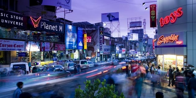 Brigade Road. Main Shopping Street. Evening. Bangalore. Karnataka. India.