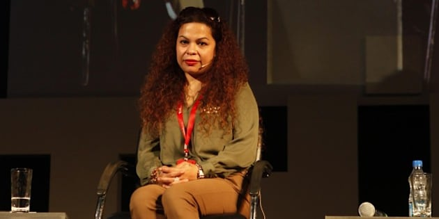 GOA, INDIA - NOVEMBER 8: (L - R) Rape victim Suzette Jordan talks on  'The Beast In Our Midst - Rape Survivors Speak Their Stories' during the opening day of THiNK 2013 at Bambolim on November 8, 2013 in Goa, India. (Photo by Santosh Harhare/Hindustan Times via Getty Images)