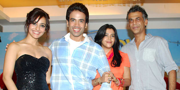 MUMBAI, INDIA - AUGUST  01: Bollywood actors Tusshar Kapoor,  Neha Sharma with producer Ekta Kapoor during the success party of the film 'Kya Super Kool Hain Hum' in Mumbai on Wednesday (Photo by Yogen Shah  /India Today Group/Getty Images)