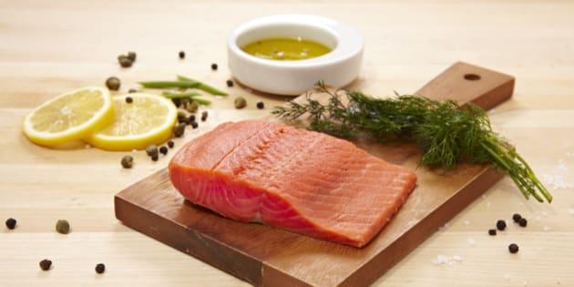 Raw Wild Salmon With Seasonings