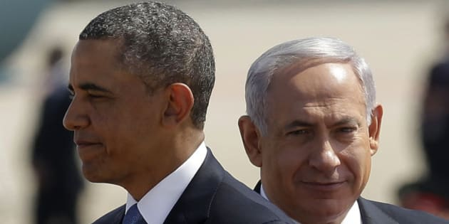 President Barack Obama, left, with Israeli Prime Minister Benjamin Netanyahu, right, during his arrival ceremony at Ben Gurion International Airport in Tel Aviv, Israel, Wednesday, March 20, 2013, (AP Photo/Pablo Martinez Monsivais)