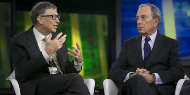 Billionaire Bill Gates, chairman and founder of Microsoft Corp., left, and Michael 'Mike' Bloomberg, Bloomberg LP founder and former mayor of New York City, speak during a Bloomberg Television interview in New York, U.S., on Tuesday, Jan. 21, 2014. Gates, the world's richest man, said that by 2035 no nation will be as poor as any of the 35 that the World Bank now classifies as low-income, even adjusting for inflation. Photographer: Scott Eells/Bloomberg via Getty Images