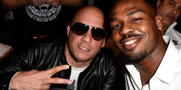LOS ANGELES, CA - FEBRUARY 28:  (L) Actor Vin Diesel and UFC light heavyweight champion Jon Jones in attendance during the UFC 184 event at Staples Center on February 28, 2015 in Los Angeles, California.  (Photo by Frazer Harrison/Zuffa LLC/Zuffa LLC via Getty Images)