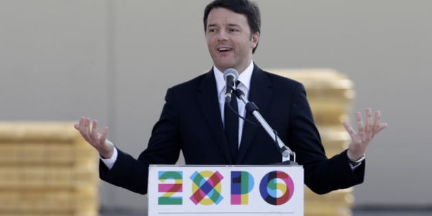 "Italian Premier Matteo Renzi delivers his speech on the occasion of his visit at the Expo site in Rho, near Milan, Italy, Friday, March 13, 2015. The theme of the Expo 2015 in Milan is ""Feeding the Planet, Energy for Life"". (AP Photo/Luca Bruno)"