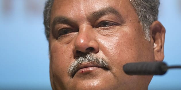 Narendra Singh Tomar, Indian Minister of Mines and Steel, speaks on the third day of Africa's biggest annual mining conference, the 'Mining Indaba', on February 11, 2015, at the International Convention Centre in Cape Town. Against a background of crashing commodity prices, mining in Africa is facing increasing pressure as governments and investors struggle over distribution of the mineral wealth lying under much of the continent. AFP PHOTO /  RODGER BOSCH        (Photo credit should read RODGER BOSCH/AFP/Getty Images)