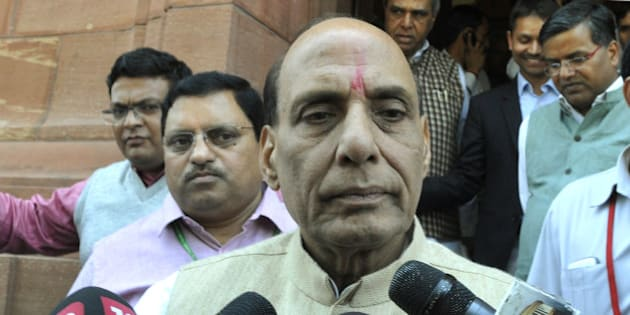 NEW DELHI, INDIA - MARCH 20: Union Home Minister Rajnath Singh talking to media personnel regarding Kathua terror attack on a Police Station during Budget Session of Parliament on March 20, 2015 in New Delhi, India. Upper House of Parliament passed the Mines and Minerals Development and Regulation (MMDR) Amendment Bill, 2015 (Photo by Vipin Kumar/Hindustan Times via Getty Images)
