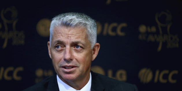 DUBAI, UNITED ARAB EMIRATES - NOVEMBER 05:  David Richardson, ICC Chief Executive talks to the media at a press conference to announce the shortlists for the LG ICC Awards 2014 at the ICC Headquarters in Dubai Sports City on November 5, 2014 in Dubai, United Arab Emirates.  (Photo by Francois Nel/Getty Images)