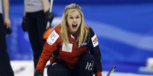 Canada's skip Jennifer Jones yells as the team plays Russia during the fourth end of their semifinal match at the women's World Curling Championships in Sapporo, northern Japan, Saturday, March 21, 2015. (AP Photo/Shizuo Kambayashi)