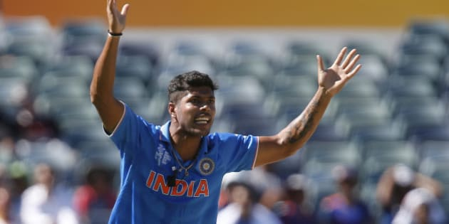 India's Umesh Yadav appeals for a wicket during their Cricket World Cup Pool B match against the United Arab Emirates in Perth, Australia, Saturday, Feb 28, 2015. (AP Photo/Theron Kirkman)