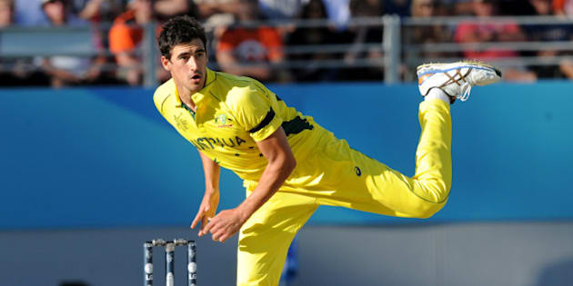 Australian bowler Mitchell Starc watches his delivery during their Cricket World Cup match against New Zealand in Auckland, New Zealand, Saturday, Feb. 28, 2015. (AP Photo Ross Setford)