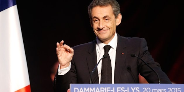 Current UMP right-wing opposition party President and former French President, Nicolas Sarkozy speaks during a campaign rally ahead of the French departmental elections, on March 20, 2015 in Dammarie-les-Lys, south of Paris. The French departmental elections are set for March 22 and 29. AFP PHOTO / FRANCOIS GUILLOT        (Photo credit should read FRANCOIS GUILLOT/AFP/Getty Images)