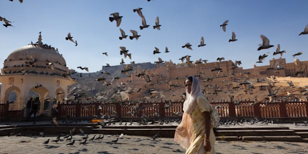 [UNVERIFIED CONTENT] A woman is walking by the Amber Fort, surrounded by pigeons flying all over the scene, Rajasthan, India.
