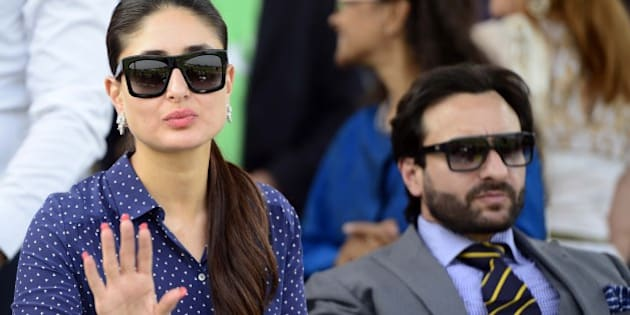 NEW DELHI, INDIA  OCTOBER 26: Kareena Kapoor and Saif Ali Khan during Bhopal Pataudi Cup 2014 at Jaipur Polo Ground in New Delhi.(Photo by Qamar Sibtain/India Today Group/Getty Images)