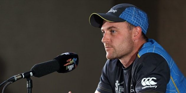 New Zealand's captain Brendon McCullum speaks to the media ahead of their 2015 Cricket World Cup semi final match against South Africa at Eden Park in Auckland on March 23, 2015. AFP PHOTO / Michael Bradley        (Photo credit should read MICHAEL BRADLEY/AFP/Getty Images)