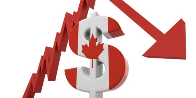 Canadian Dollar Crash Concept