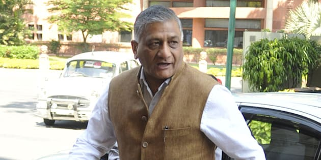 NEW DELHI, INDIA - MARCH 19: Union Minister of State for External Affairs VK Singh during Budget Session of Parliament on March 19, 2015 in New Delhi, India. Opposition forced deferment of consideration of the contentious Mines and Minerals Bill in Rajya Sabha till tomorrow, arguing that mineral-bearing states had not been consulted. (Photo by Vipin Kumar/Hindustan Times via Getty Images)