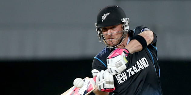 New Zealand's Brendon McCullum plays a shot while batting against South Africa during their Cricket World Cup semifinal in Auckland, New Zealand, Tuesday, March 24, 2015. (AP Photo/David Rowland)