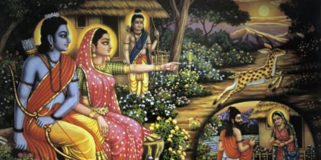 Poster of Ram, Sita and Laxman, India. (Photo by: IndiaPictures/UIG via Getty Images)