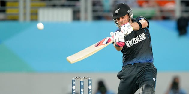 New Zealand's Brendon McCullum hits the ball for six runs while batting against South Africa during their Cricket World Cup semifinal in Auckland, New Zealand, Tuesday, March 24, 2015. (AP Photo/Ross Setford)
