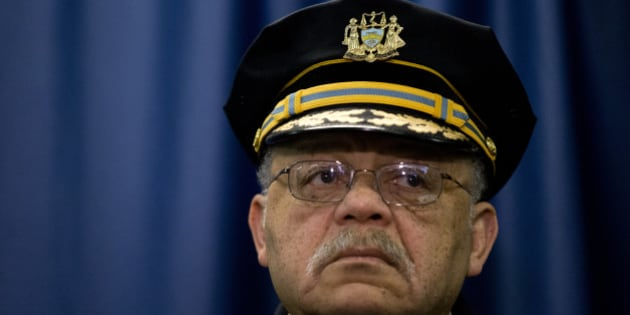 Philadelphia Police Commissioner Charles Ramsey listens during a news conference Monday, March 23, 2015, in Philadelphia. Poor training has left Philadelphia police officers with the mistaken belief that fearing for their lives alone is justification for using deadly force, the Justice Department said Monday in a review of the city's nearly 400 officer-involved shootings since 2007. (AP Photo/Matt Rourke)