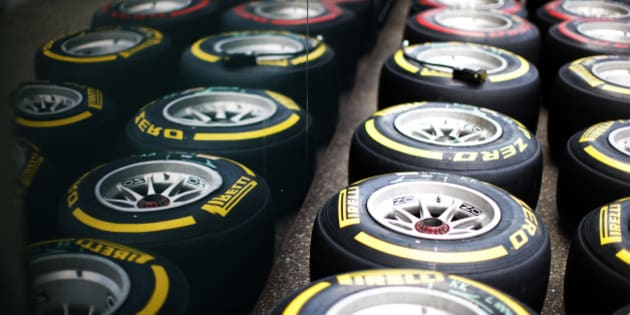 HOCKENHEIM, GERMANY - JULY 17:  A general view of Pirelli tyres during previews ahead of the German Grand Prix at Hockenheimring on July 17, 2014 in Hockenheim, Germany.  (Photo by Drew Gibson/Getty Images)