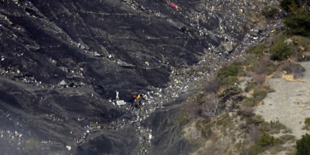 LA SEYNE LES ALPES, FRANCE- MARCH 24:  Aerial view of crash site of Germanwings Flight 4U9525 in Seyne Les Alpes on March 24, 2015 in Seyne Les Alpes, France.   German Foreign Minister Steinmeier visited the site of a Germanwings Airbus A320 airliner which crashed with 150 people on board in the French Alps. (Photo by Michael Gottschalk/Photothek via Getty Images)