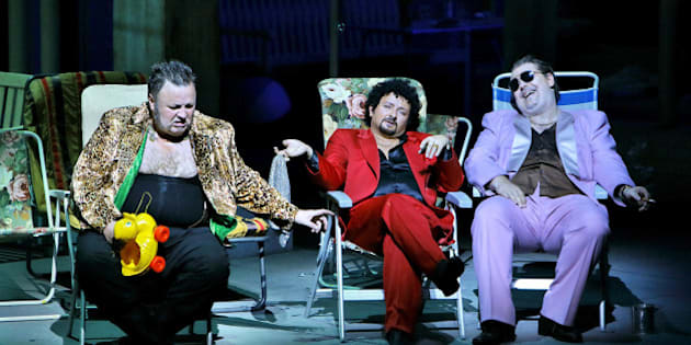 "HANDOUT - ""The Rhine Gold"", photo rehearsal from 2014, Scene 4: Oleg Bryjak (Alberich), Norbert Ernst (Loge), Wolfgang Koch (Wotan). The Wagner opera will be performed at the 2014 Bayreuth Festival on 25July 2014. dpa (ATTENTION EDITORS - MANDATORYCREDIT:""Photo: BayreutherFestspiele/Enrico Nawrath"" - INTERNETUSEONLYUPTO AMAXIMUMSIZEOF800 X 800 PIXELSHANDOUTEDITORIALUSEONLY/NOSALES)"