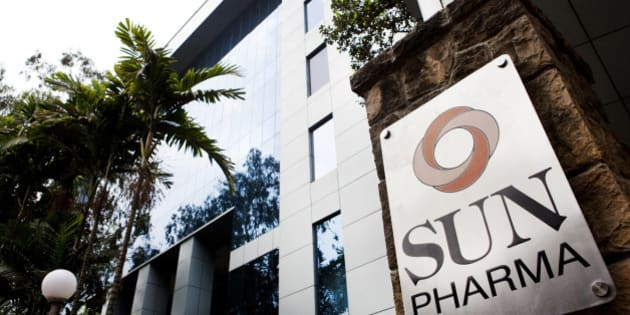 Sun Pharmaceutical Industries Ltd. signage is displayed outside the company's corporate office in the Andheri suburb of Mumbai, India, on Monday, April 7, 2014. Sun Pharmaceutical, India's largest drugmaker by market value, agreed to buy Ranbaxy Laboratories Ltd. for $3.2 billion in stock, the biggest purchase by an Indian company in two years. Photographer: Amit Madheshiya/Bloomberg via Getty Images