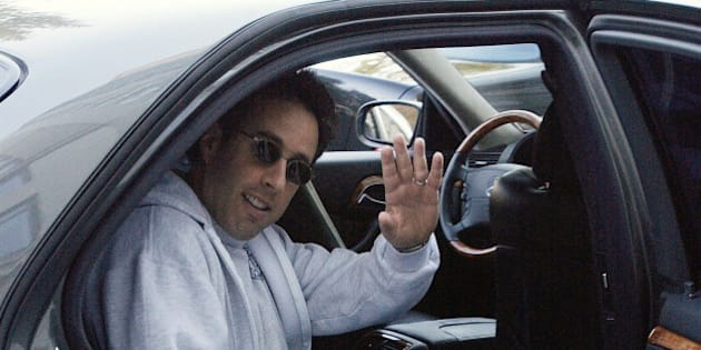 NEW YORK - NOVEMBER 21:  ***EXCLUSIVE***  Jerry Seinfeld is seen in a car November 21, 2003 in New York City.  (Photo by Mario Magnani/Getty Images)