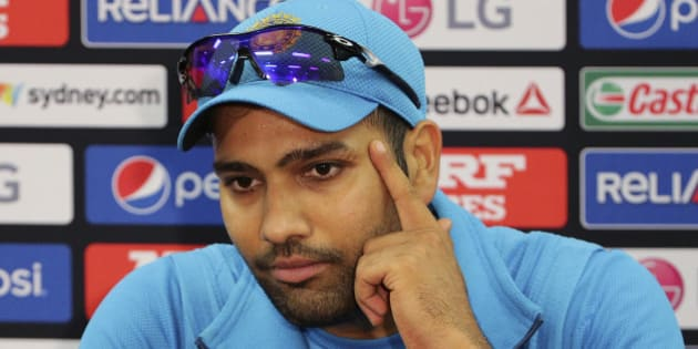 India's Rohit Sharma speaks to the media during a pre match press conference at the Cricket World Cup in Sydney, Australia, Wednesday, March 25, 2015. India will play Australia in the World Cup semifinal on Thursday to gain a place in the final against New Zealand.(AP Photo/Rob Griffith)