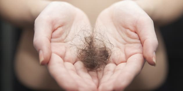 Close up of woman hands holding hair ball