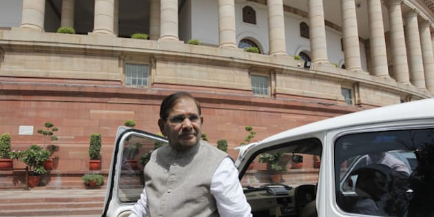 NEW DELHI, INDIA - AUGUST 13: JD(U ) Leader Sharad Yadav at Parliament house during budget session on August 13, 2014 in New Delhi, India. AIADMK leader M Thambidurai was unanimously elected deputy speaker of the 16th Lok Sabha. (Photo by Arvind Yadav/Hindustan Times via Getty Images)