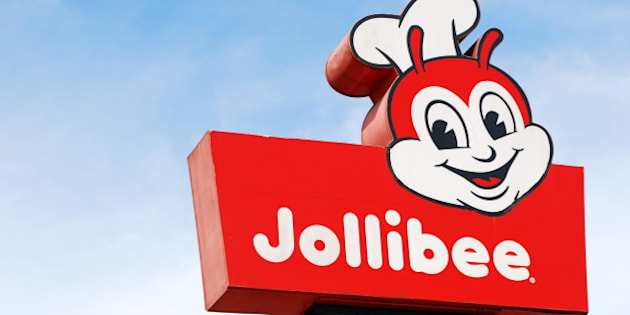 A shot on an elevated signage of Jollibee fastfood in Tagaytay.