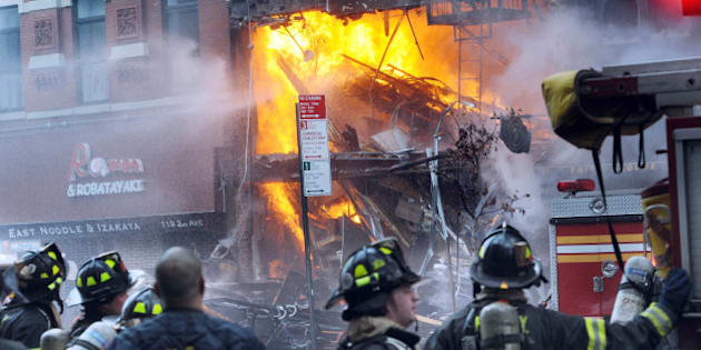 Building at 121 Second Avenue in East Village, near Seventh Street collapsed after it was rocked by a blast and a fierce fire that sent black smoke into the sky.(Photo By: Susan Watts/NY Daily News via Getty Images)