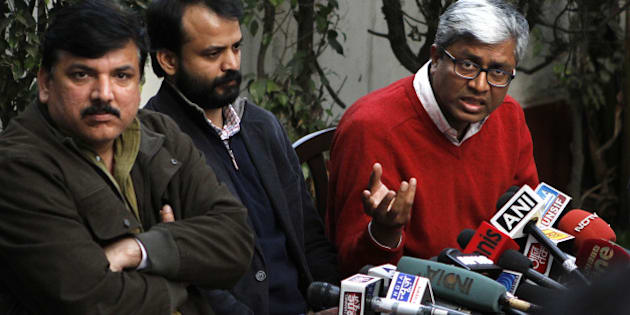 NEW DELHI, INDIA - FEBRUARY 6: AAP leaders Sanjay Singh, Ashish Khetan and Ashutosh addressing the press conference  on February 6, 2015 in New Delhi, India. AAP slammed BJP for front page advertisements listing achievements of Central government in most of dailies just a day ahead of elections. Polling will be held tomorrow for 70 seats in the Delhi Assembly elections. Over 1.33 crore electorate will decide the fate of 673 candidates in the fray for the Delhi Assembly elections. (Photo by Virendra Singh Gosain/Hindustan Times via Getty Images)