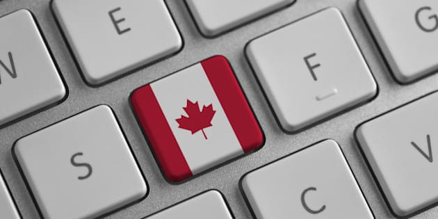 Canada flag on a laptop