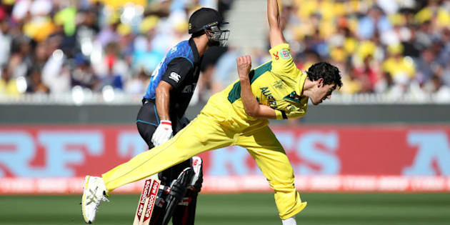 Australia's Mitchell Starc bowls during the Cricket World Cup final against New Zealand in Melbourne, Australia, Sunday, March 29, 2015. (AP Photo/Rick Rycroft)