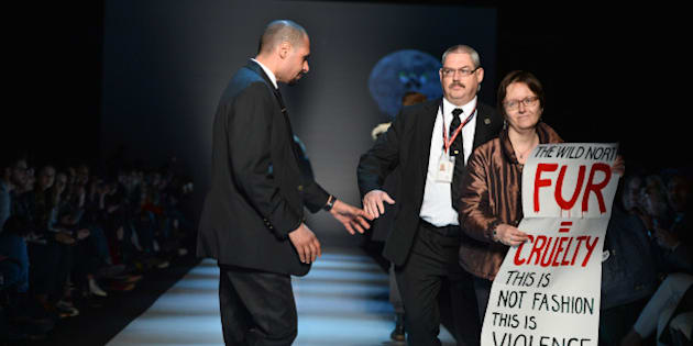 TORONTO, ON - MARCH 27:  Security escorts a protester holds an anti-fur off the runway during  the show for The Wild North fall 2015 collection during World MasterCard Fashion Week Fall 2015 at David Pecaut Square on March 27, 2015 in Toronto, Canada.  (Photo by George Pimentel/Getty Images for IMG)
