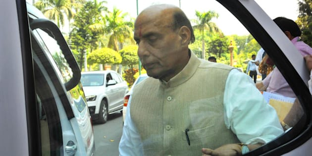 NEW DELHI, INDIA - MARCH 20: Union Home Minister Rajnath Singh during Budget Session of Parliament on March 20, 2015 in New Delhi, India. Upper House of Parliament passed the Mines and Minerals Development and Regulation (MMDR) Amendment Bill, 2015 (Photo by Vipin Kumar/Hindustan Times via Getty Images)