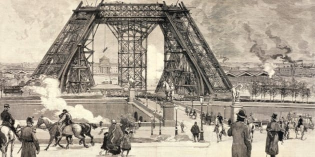 The Eiffel Tower under construction for the Paris World Fair, 1889, the progress of the work in February 1888. France, 19th century.