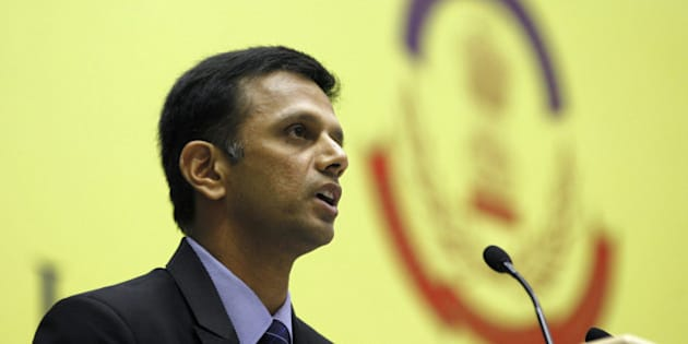 NEW DELHI, INDIA - NOVEMBER 12: Indian Cricketer Rahul Dravid speaks on Ethics and Integrity in Sports: Need for a Law and Role of CBI during CBI International Conference on Evolving Common Strategies to Combat Corruption and Crime on November 12, 2013 in New Delhi, India. Former Indian captain favoured legalising betting in sports if law enforcement agencies were okay with it. (Photo by Raj K Raj/Hindustan Times via Getty Images)