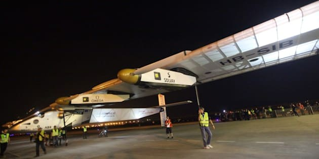 The Solar Impulse 2 with pilot Bertrand Piccard at the controls of the revolutionary plane taxis after landing in Chongqing airport at 1:35 am (17:35 GMT Monday) after a 22-and-a-half hour flight from Myanmar, on March 31, 2015.  Solar Impulse 2 landed in China, the world's biggest carbon emitter, as it completed the fifth leg of its landmark circumnavigation of the globe powered solely by the sun.     CHINA OUT      AFP PHOTO        (Photo credit should read STR/AFP/Getty Images)