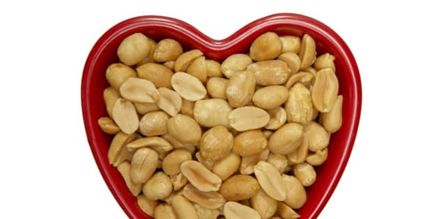 Heart Shaped Bowl with Peanuts