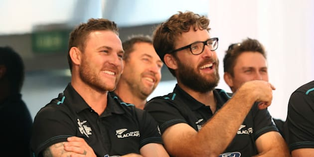 AUCKLAND, NEW ZEALAND - MARCH 31:  Black Caps captain Brendon McCullum (L) and Daniel Vettori (R) enjoy the speeches  during the Zealand Blackcaps Welcome Home Reception at Queen's Wharf on March 31, 2015 in Auckland, New Zealand. New Zealand had their most successful Cricket World Cup campaign by making the final of the tournament for the first time.  (Photo by Fiona Goodall/Getty Images)